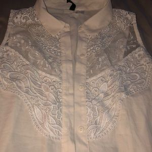 H&M's cute dressy blouse with lace and mesh